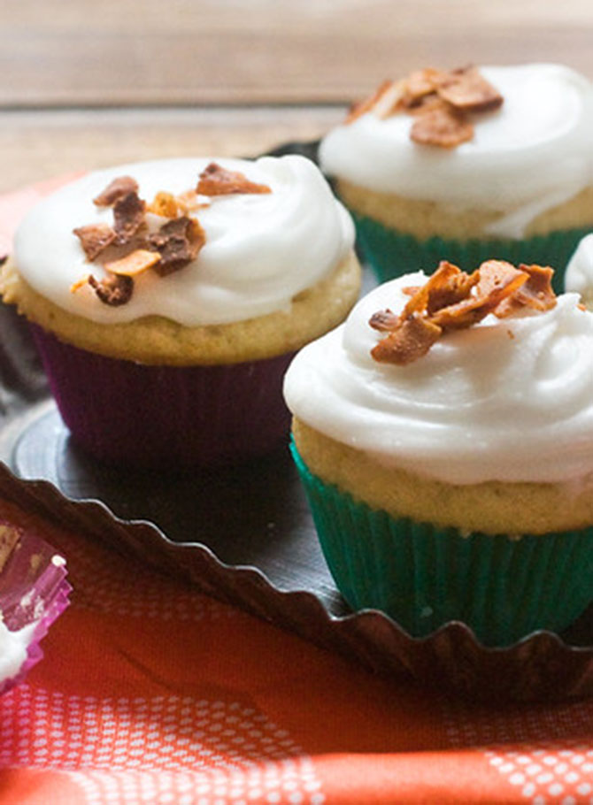 Butterscotch Cupcakes With Coconut Bacon