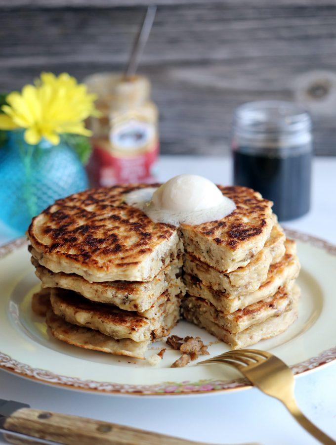 Vegan Sausage Oatmeal Pancakes